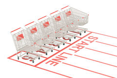 Start sale and discount concept. Shopping carts on the start lin. E, 3D Royalty Free Stock Photos