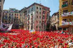 Start of San Fermin Festival  in Pamplona, Spain Royalty Free Stock Photos