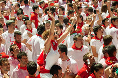 Start of San Fermin Festival  in Pamplona Royalty Free Stock Photos