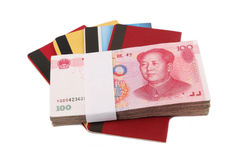 Start saving. Chinese rmb and passbook with white background Stock Image