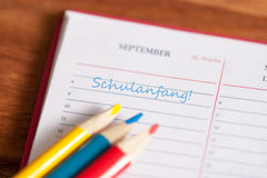 Start of the school year. Caleder showing first day of school Stock Images