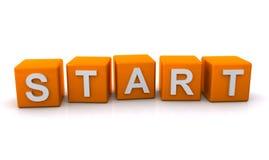 Start sign. Orange letter blocks spelling word start, white background Stock Photos