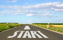 Start sign on a road Stock Photography
