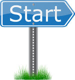 Start Signpost. A blue signpost start on grass stock illustration