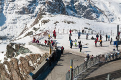 Start of a ski piste on the Gornergrat in Switzerland Royalty Free Stock Image