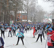 Start ski race at a distance of 5 km. Royalty Free Stock Photography
