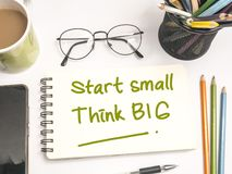 Start Small Think Big, Motivational Words Quotes Concept royalty free stock image