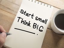 Start Small Think Big, Motivational Words Quotes Concept. Start Small Think Big, business motivational inspirational quotes, words typography lettering concept royalty free stock photo