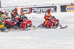 Start of the Snowmobile Race Stock Images