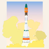 Start space rocket. Rocket transport before launching into space stock illustration