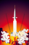 Start of space shuttle. Start of space shuttle on dark red background vector illustration