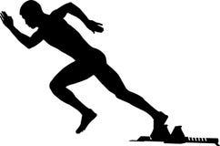Start sprint athlete runner in starting blocks. Black silhouette vector illustration vector illustration