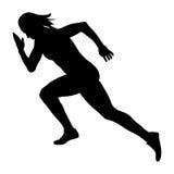 Start sprint girl athlete runner. Black silhouette stock illustration