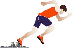 Start sprinter athlete runner. Starting blocks vector illustration stock illustration