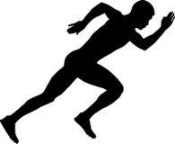 Start of a sprinter runner men. Black silhouette Stock Images