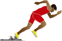 Start of sprinter runner. Starting blocks vector illustration royalty free illustration