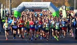 The Start of the St Neots half marathon. ST NEOTS, CAMBRIDGESHIRE, ENGLAND - NOVEMBER 18, 2018: The Start of the St Neots half marathon royalty free stock photo