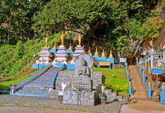 Start of stairs to the top of Tiger Cave Temple. 1237 step to top mountain. Krabi. Thailand Royalty Free Stock Image