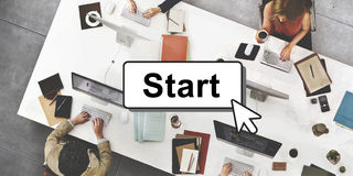 Start Starter Begin Build Launch Motivate First Concept.  Stock Image