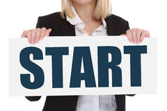 Start starting begin beginning business concept career goals mot Stock Image