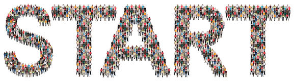 Start starting beginning multi ethnic group of people. Isolated Stock Photography