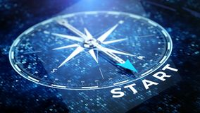 Start, startup tecnology concept - Compass needle pointing start word Royalty Free Stock Images