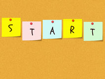 Start Sticky Notes on bulletin board Royalty Free Stock Photography