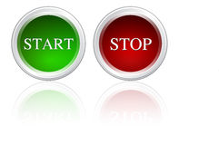 Start & stop. Button red green color white background Royalty Free Stock Photo