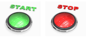 Start and stop. Button on white background Stock Photography