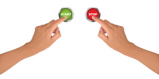 Start and stop. Female hands press start and stop buttons, isolated on white background Stock Image