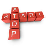 Start and stop 3D crossword on white background Stock Photo