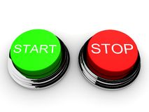 Start and stop. 3d rendered illustration of a green start and a red stop button Stock Photos