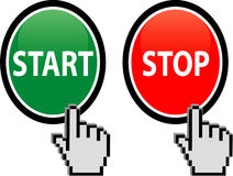 Start and Stop button. With hand cursor isolated on white - vecto Stock Image