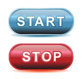 Start and stop button. Metalic color for start and stop buttons Stock Image
