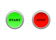 Start/stop button. Button on / off or start / stop in green and red color Royalty Free Stock Photography