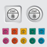 Start-stop button is protected by fingerprint. Icon. Vector illustration Royalty Free Stock Photography