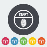 Start-stop button is protected by fingerprint. Single flat icon on the circle. Vector illustration Stock Photo