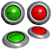 Start and stop buttons. Green start button and red stop button on white background vector illustration