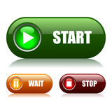 Start and stop buttons. Set Royalty Free Stock Photo
