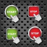 Start and Stop buttons. Set of four Start and Stop buttons with hand cursor on metal background.EPS file available Royalty Free Stock Image