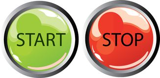 Start stop buttons. Illustration of start and stop button icons Royalty Free Stock Photo
