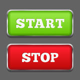 Start Stop Buttons. Start and stop buttons with metallic frames Royalty Free Stock Image