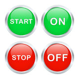 Start and stop buttons. Set of start and stop buttons. Vector illustration Royalty Free Stock Photos