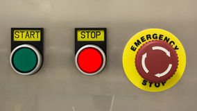Start, Stop and Emergency buttons Royalty Free Stock Image