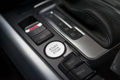 Start stop engine button. Luxury sport car interior Stock Image