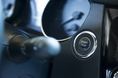 Start stop engine button in the car Royalty Free Stock Photo