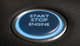 Start stop engine button in car interior. 3D rendered illustration.  Royalty Free Stock Image