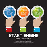 Start-Stop Engine Button Set. Hand Push Start-Stop Engine Button Set Vector Illustration Stock Image