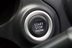 Start stop engine buttons in car Stock Photos