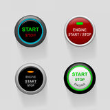 Start stop engine buttons. Set of start stop engine buttons (illustration Royalty Free Stock Photos